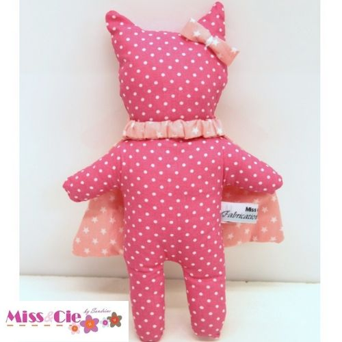 doudou chat SuperCat rose à pois
